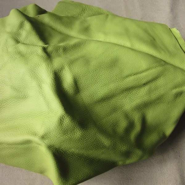 Chute de cuir grainé vert