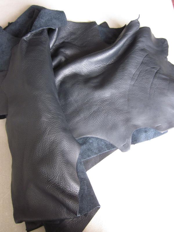 Chute de cuir grainé pleine fleur noir