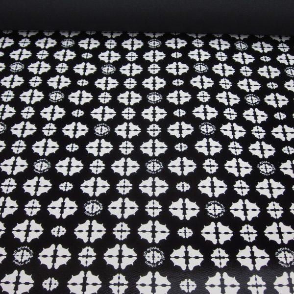 Tissu enduit motifs bi-couleur noir et blanc