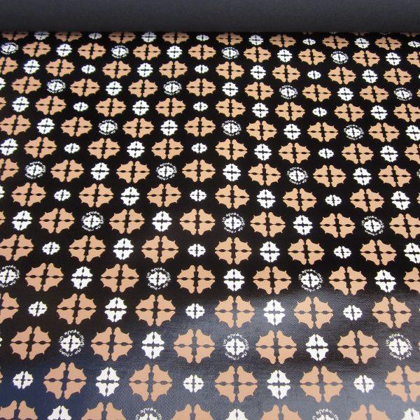 Tissu enduit motifs réf 54 bi-couleur noir et cognac